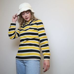 Vintage 70s yellow and black striped polo top S/M